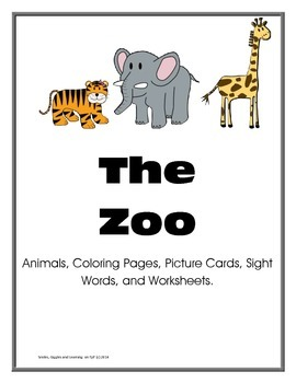 Zoo (Summer At the Zoo) - 11 Animals, Coloring Pages, Sigh