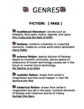 At a Glance Genres and Literary Elements Lists