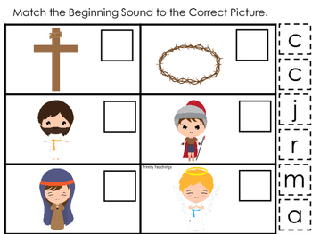 At the Cross Match the Beginning Sound preschool Bible cur