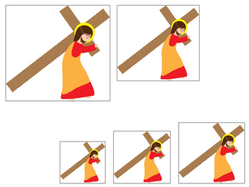 At the Cross Size Sequence preschool Bible curriculum game