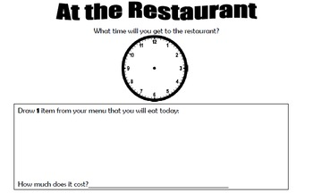 At the Restaurant - Math-Time (Clock) and Money (Coins) an