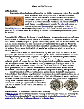 Athena and the Parthenon - Informational Text and Greek Myth
