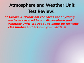 Atmosphere and Weather Review Powerpoint