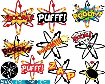 Atom Comic Text Props Super hero science clip art Pop Art