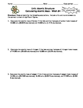 Atomic Structure Homework Worksheets - Set of 5!  Answers