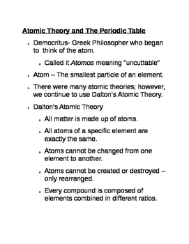 Atomic Theory and The Periodic Table Notes
