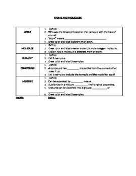 Atoms and Molecules: Cornell Notes
