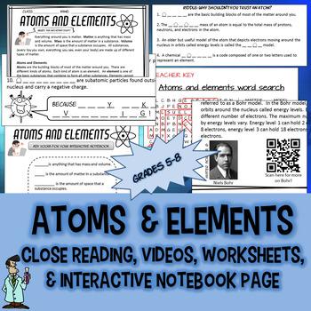 Atoms elements subatomic particles INB QR TX TEKS 6.5A C 8