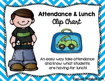 Attendance & Lunch Chart- Bright Chevron & Chalkboard