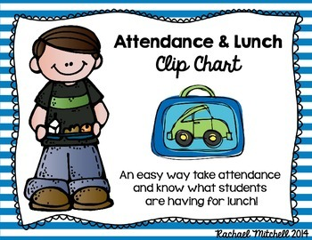 Attendance & Lunch Chart- Bright Stripes & Chalkboard