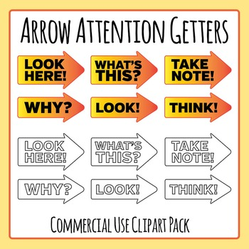 Attention Getters - Arrows with Words Clip Art Set for Com