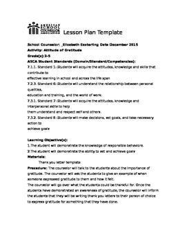 Attitude of Gratitude Lesson on ASCA template