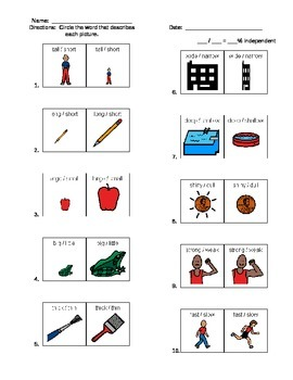 Attributes / Adjectives Worksheet
