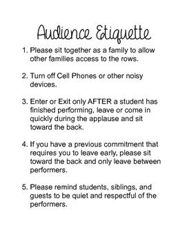 Audience Etiquitte for Studio Recital or School Performance