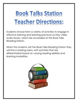 Audiobooks Reading Station Menu for centers, early finishe