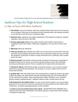 Audition Tips for High School Students: 10 Tips on Success