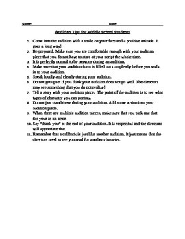 Audition Tips for Middle School Students