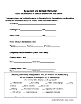 Audition for Play Production- Permission slip and informat