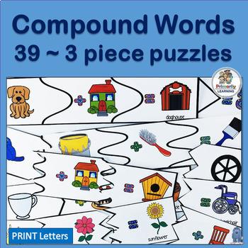 Auditory Discrimination ~ Compound Words:  3 piece puzzles
