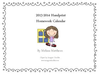 Aug. 2013- July 2014 Kindergarten Handprint Homework Calendar