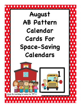 August Calendar Cards With AB Pattern: Fit Small and Regul