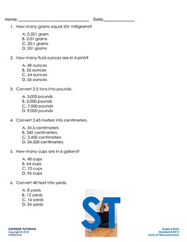 Back to School: Augmented 6th Grade Math Worksheet - Units