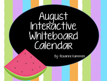 August 2016 Interactive Whiteboard Calendar
