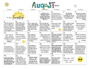 August 2017- Early Learning Calendar