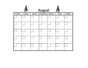 August Blank Calendar