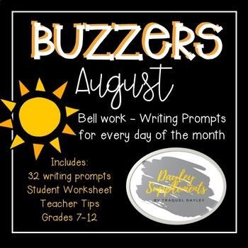 August Buzzer Packet (Bell Work-Journal) Common Core Writi