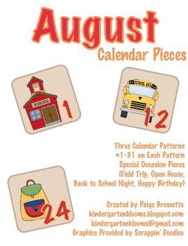 August Calendar Packet