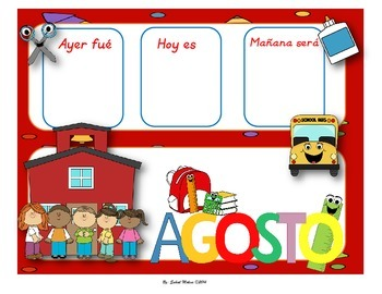 August Calendar flash cards English&Spanish
