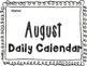 August Daily Calendar Activity Journal