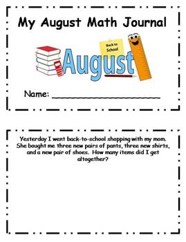 August Daily Math Journal