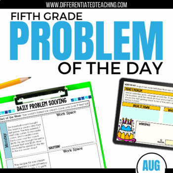 August Daily Problem Solving for 5th Grade: 5 weeks of mul