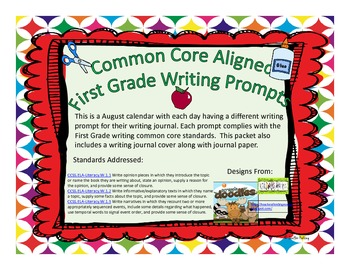 August First Grade Writing Prompts and Journal Pages (Comm