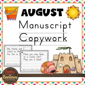 August Manuscript Copywork Handwriting Practice
