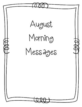 August Morning Message Book