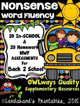 Nonsense Word Fluency AUGUST Assessment Pack by Ms. Lendahand