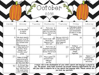 August- November Speech and Language Monthly Homework