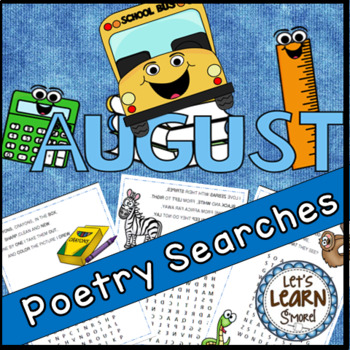 August Poetry, Word Searches, Fall Theme, Back to School,