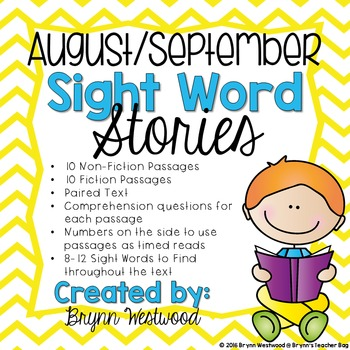 August/September Sight Word Stories