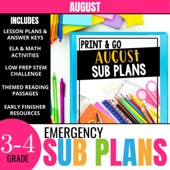 No Prep August Sub Plans for 3rd Grade & 4th Grade