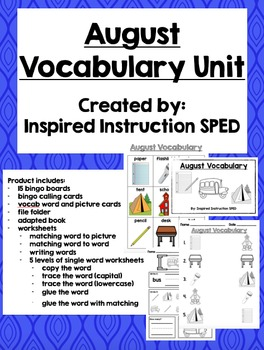 August Vocabulary Unit for Early Elementary or Students wi