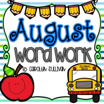 August Word Work for Kindergarten