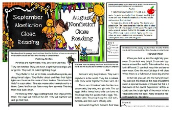 August September and October Close Reading Bundle
