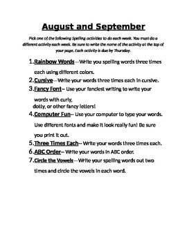 August and September Spelling Activities