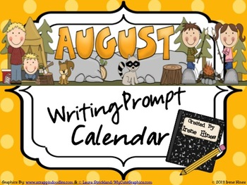 August and Summer Writing Prompt Calendar ~ {Common Core S