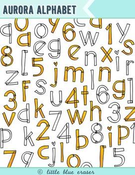 Aurora Alphabet Clip Art
