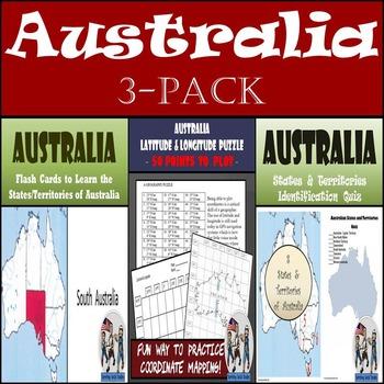Australia: Latitude & Longitude, Flash Cards, & Identifica